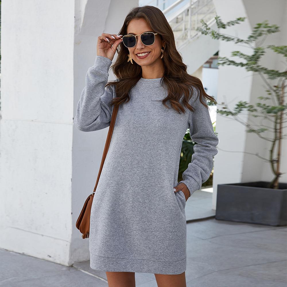 Autumn Winter O Neck Long Sleeve Women's Sweatshirt Dress 2020 New Fashion Grey Solid Loose Pocket Ladies Mini Dress Vestidos