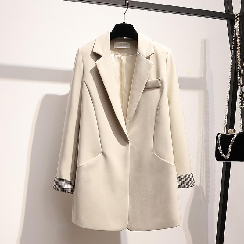Korean Vintage Women Blazer Loose Casual Solid Beige Suit Jacket Simple Blazer Paillette Stylish Spring Women Jacket New MM60NXZ