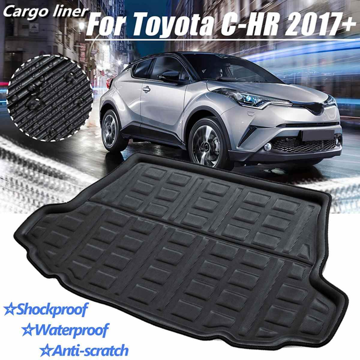 1PCS Black Inner Rubber Rear Trunk Boot Mat Carpet Car Styling Accessories For Toyota C-HR CHR 2017 2018 2019 2020+