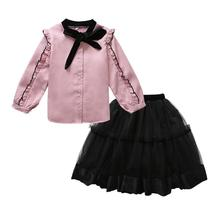 GloryStar Girls Two-piece Suits of Flouncing Shirt and Mesh Skirt Casual Outfits with Bow Decorated girls bow decorated headband