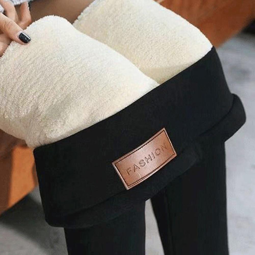 2019 Black Warm Pants Winter Skinny Thick Velvet Wool Fleece Girls Leggings Women Trousers Lambskin Cashmere Leggings