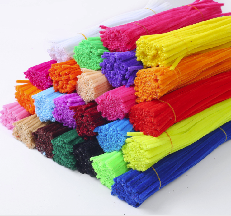 100pcs Kids Creative Colorful Diy Plush Chenille Sticks Educational Toys Crafts For Kids And Mother