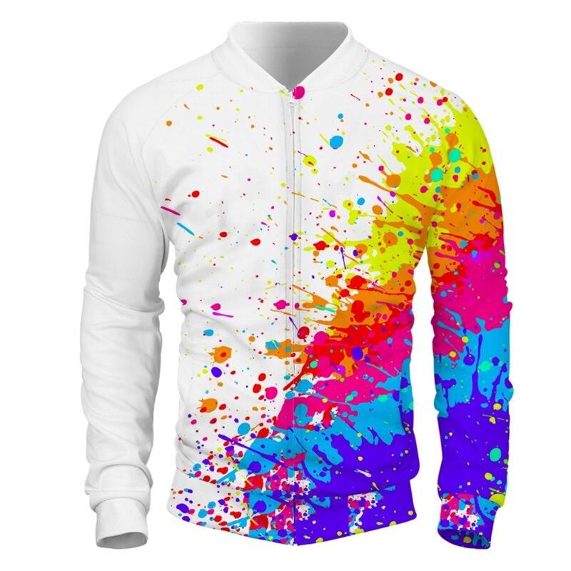 Cloudstyle 3D hommes vestes éclaboussures peinture colorée taches veste à glissière Streetwear pulls hauts grande taille 5XL pour le printemps