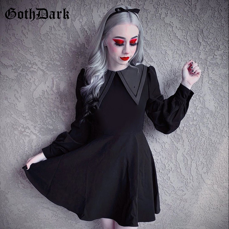 Goth Dark 90s Vintage Gothic Dress Pleated Longsleeve Winter 2019 Grunge Punk Hip Hop Aesthetic Egirl Dresses Emo goth Y2k Chic