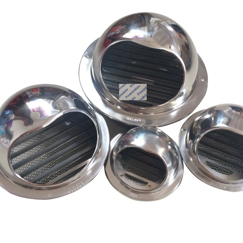 High Polished Thick 304# Stainless Steel Wall Air Vent Bull Nose Exhaust Hood Extractor Outlet Grille Louvres Mesh Filter