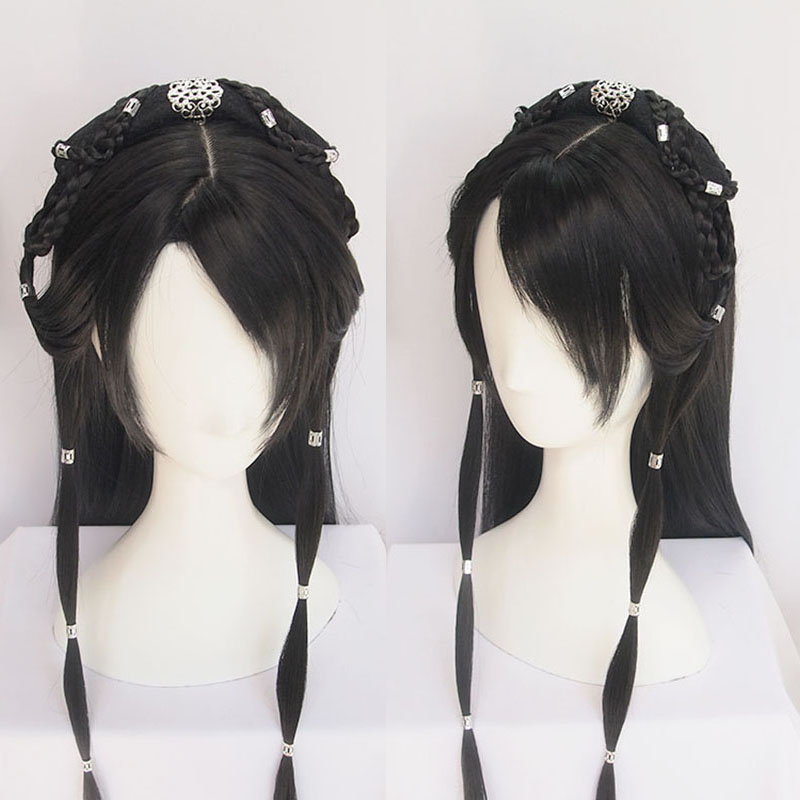 WEILAI Vintage Wig Modelling Wig Hanfu Chinese Ancient Style Wig Multi-purpose Ancient Costume Whole Wig Cap Custom Product