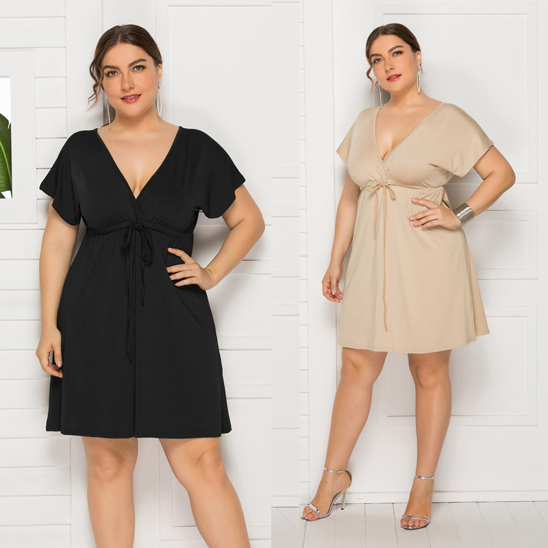 Plus Size Dress 2020 Women Summer Beach Solid Lace Dresses Sexy Short Sleeve Backless Deep V-Neck Big Sizes Casual Vestidos 4XL