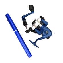 Vara de pesca mini portátil bolso caneta forma liga alumínio vara de pesca pólo roda portátil vara de pesca conjunto # g3