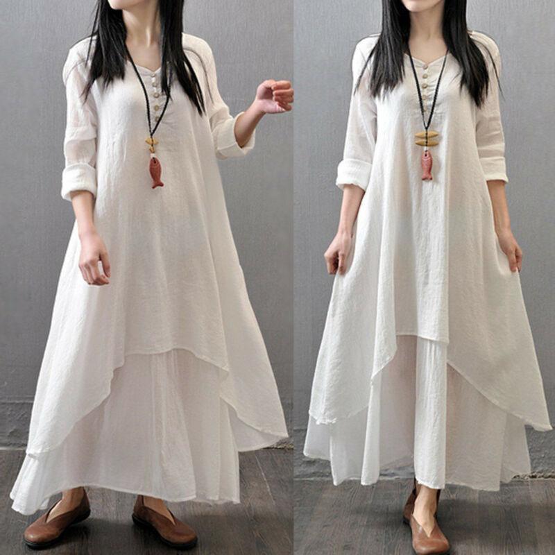 Retro 2019 Spring Boho Women V Nekc Peasant Ethnic Cotton Linen Maxi Dress Casual Long Sleeve Button Irregular Long Dress Hot