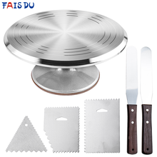 6Pcs/set Turntable Cake Decoration Accessories Set Rotating Cake Stand Tools Metal Stainless Steel Pastry Spatula Scraper