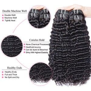 Image 3 - Mshere 4 Stks/partij Peruaanse Diepe Krullend Wave 3 Bundels Met Sluiting Niet Remy Hair Gratis Deel Lace Sluiting Met Menselijk haar Bundels 1B #