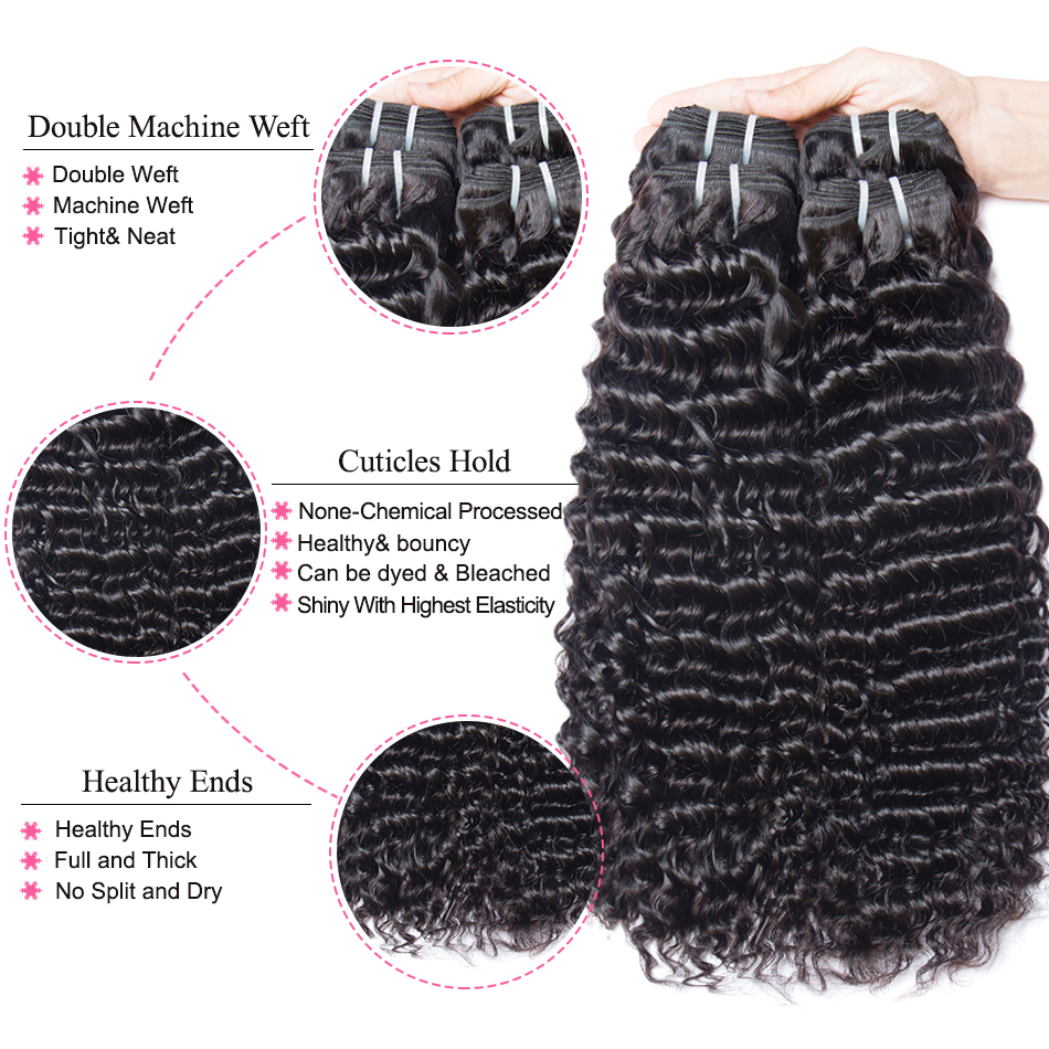 Mshere 4PCS/LOT Peruvian Deep Curly Wave 3 Bundles With Closure Non Remy Hair Free Part Lace Closure With Human Hair Bundles 1B#