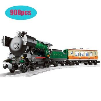 21005 908Pcs Compatible lepining Technic Series Emerald Night Train Model Building Kit Block Bricks Toys  Clone 10194