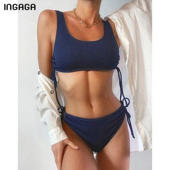 INGAGA Ribbed Bikinis Women's Swimsuits High Waist Swimwear Push Up Biquini String Bow Bathing Suits 2021 New Black Beachwear 2