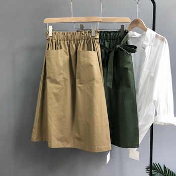2020 Vintage Stretch High Waist Summer Women Midi Skirt Pocket Design Saia Women A-Line Skirt With Belt Faldas Jupe Femme - DISCOUNT ITEM  30 OFF Women\'s Clothing