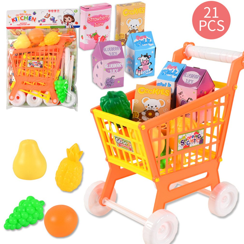 Mini Simulation Shopping Cart Kids Pretend Play Toy Plastic Assemble Disassemble Shopping Cart Baby Playing House Toy