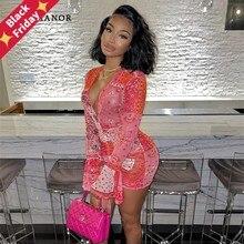 ANJAMANOR Rosa Bandana Mesh Bodyocn Kleid Club Outfits für Frauen Ausgestelltes Langarm Tiefem V-ausschnitt Draw String Mini Kleid d85-BE12