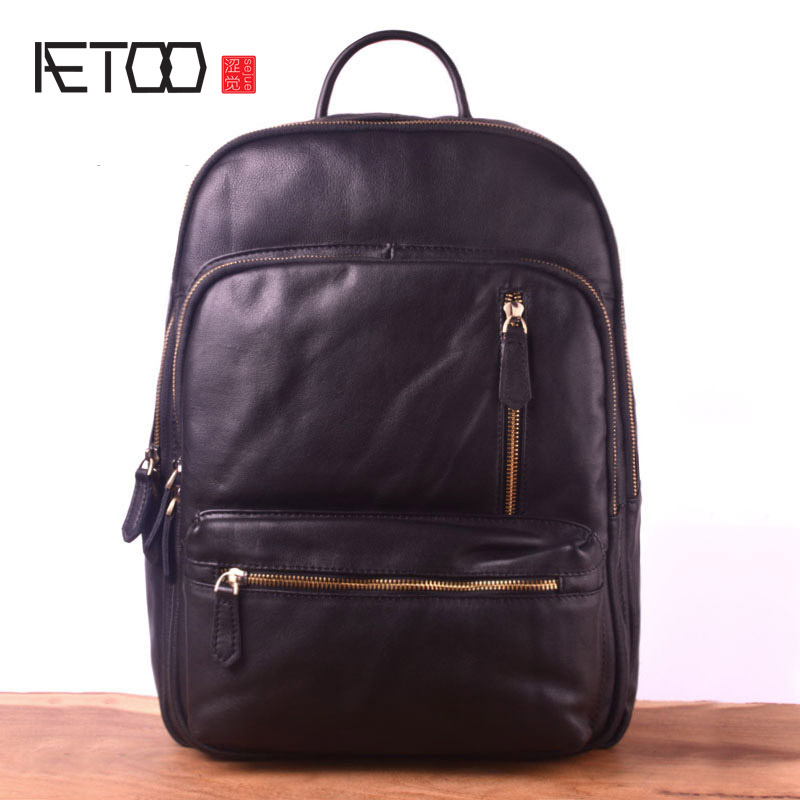 AETOO Vintage Leather Shoulder Bag, Personalized Handmade Head-layer Edges Backpack, Men's And Women's Bags, Computer Bags