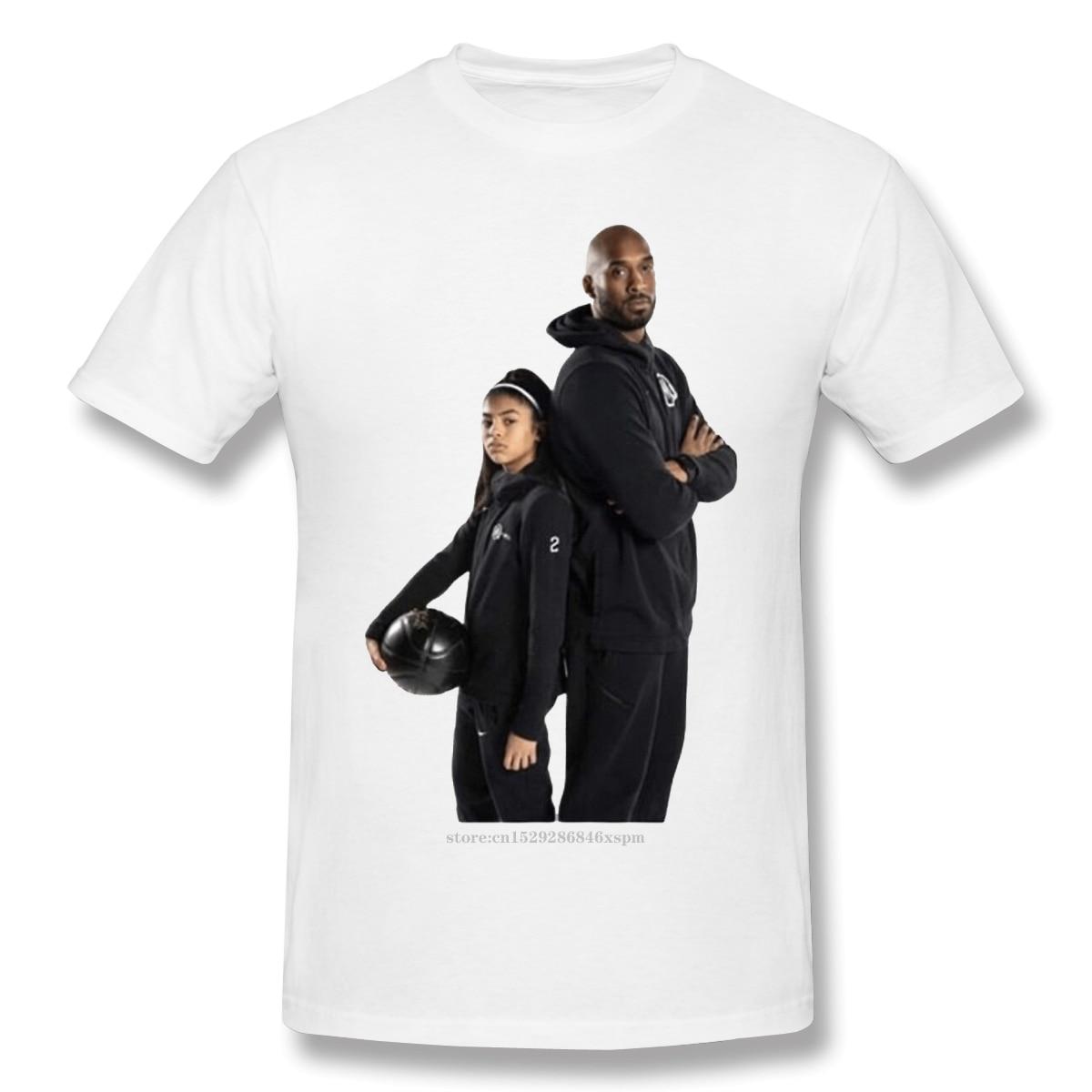 Men kobe bryant T-Shirts Funny Round Neck Short Sleeve Tops Kobe And Gigi Pure Cotton Tees Funny Harajuku tShirt