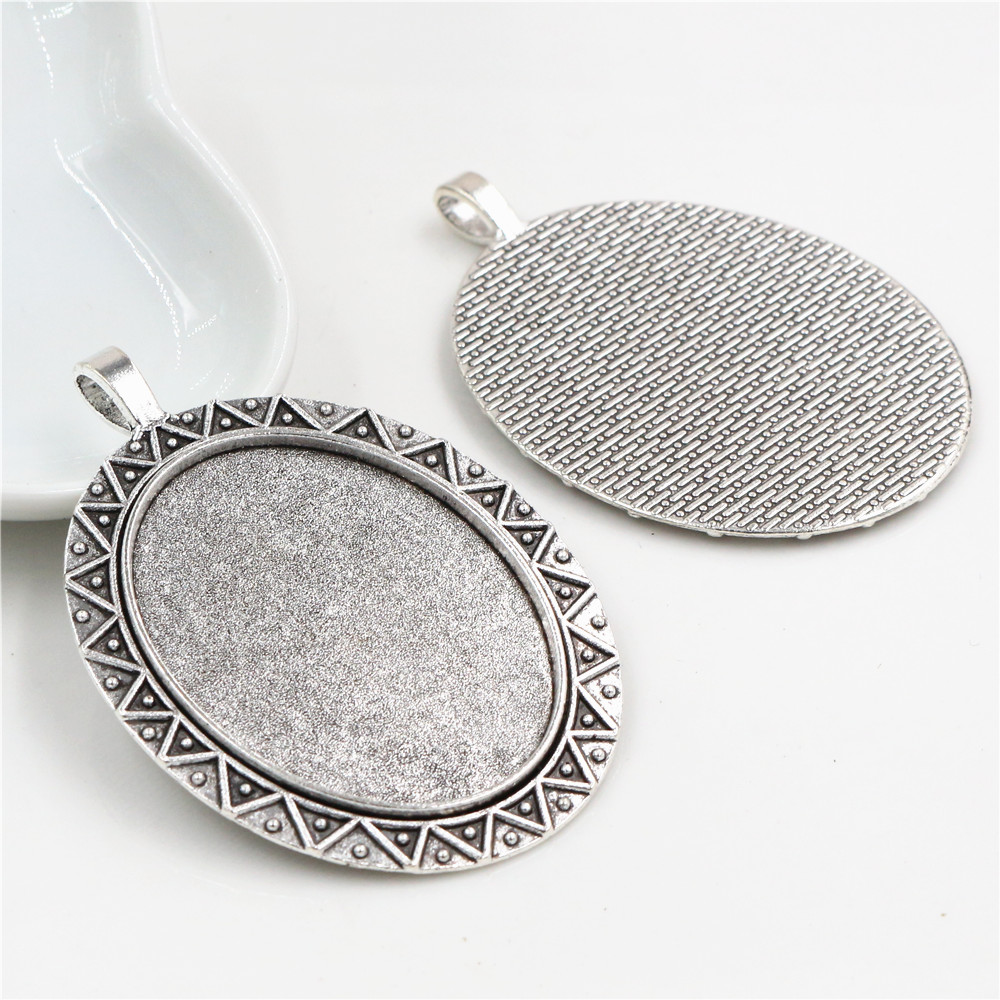 New Fashion  5pcs 30x40mm Inner Size Antique Silver Plated Simple Style Cabochon Base Setting Charms Pendant (B3-31)
