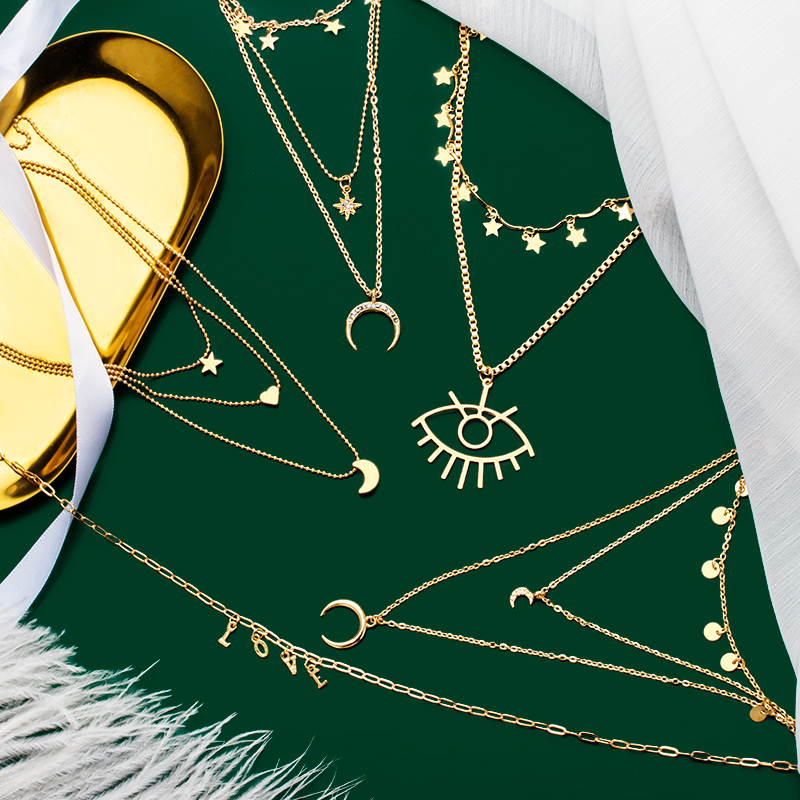 Bohemian Eye Star Moon Love Initial Necklace for Women Vintage Gold Pendant Necklace Fashion Layered Necklace 2020 Jewelry Gift