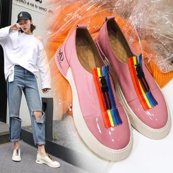 women's shoes New spring shallow mouth round head flat Pink pea shoes ZETMTC Brand Fashion luxury shoes women designers