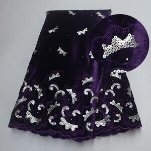 Image 1 - Tela de encaje de terciopelo púrpura de último diseño africano, encaje francés de alta calidad de 5 yardas/uds, con tela de lentejuelas para vestido de fiesta