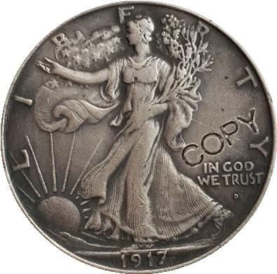 1917,P D S Walking Liberty, наполовину копия долларов, монеты