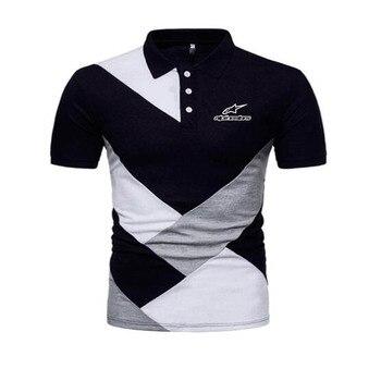 Lato alpistar koszulka Polo z krótkim rękawem koszula mężczyźni Patchwork dorywczo skręcić w dół kołnierz podkoszulek Slim Fit mężczyźni wysokiej jakości Polo Hombre