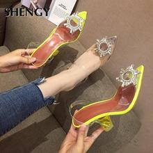 2020 Women Pumps Sexy Transparent Rhinestone Pointed High Heel Shoes