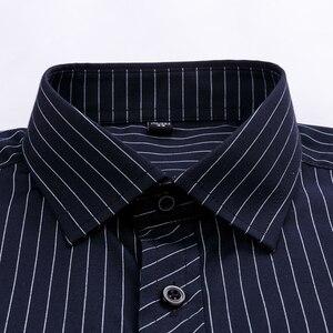 Image 2 - Mężczyźni Business Casual długi rękaw koszula klasyczne paski męskie koszula na przyjęcia towarzyskie koszule Slim Fit duży rozmiar 2XL 3XL 4XL fioletowy