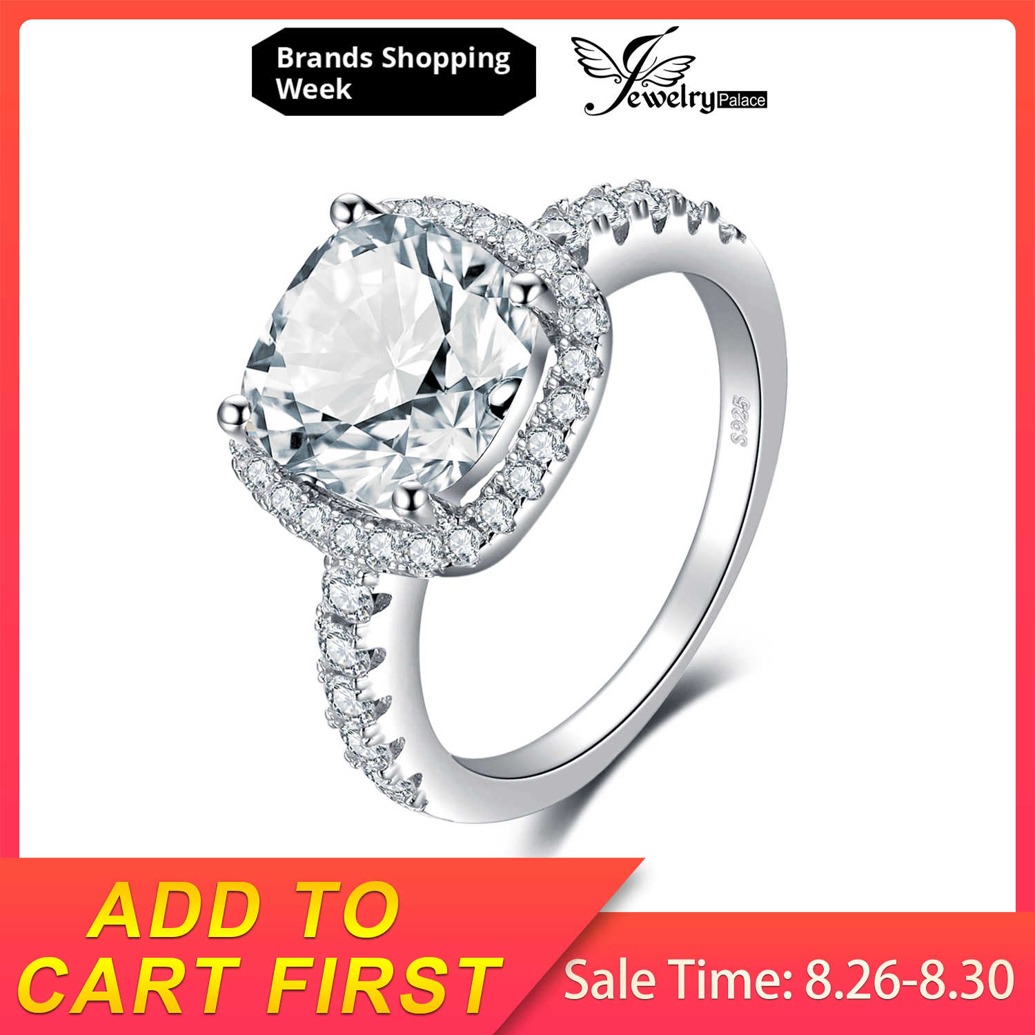 JewelryPalace 3ct Cubic Ziconia Halo Solitaire Engagement Rings 925 Sterling Silver Wedding Promise Rings Anniversary Gifts