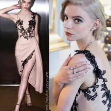 Celebrity Dress Taylor Custom-Made Lace Satin V-Neck Champagne Robes-De-Soire Backless