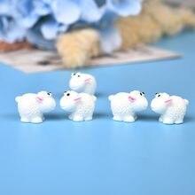10 pçs/set bonito mini animais ouriço ovelhas frango fada jardim estatuetas miniaturas casa micro miniaturas acessórios fornecimento