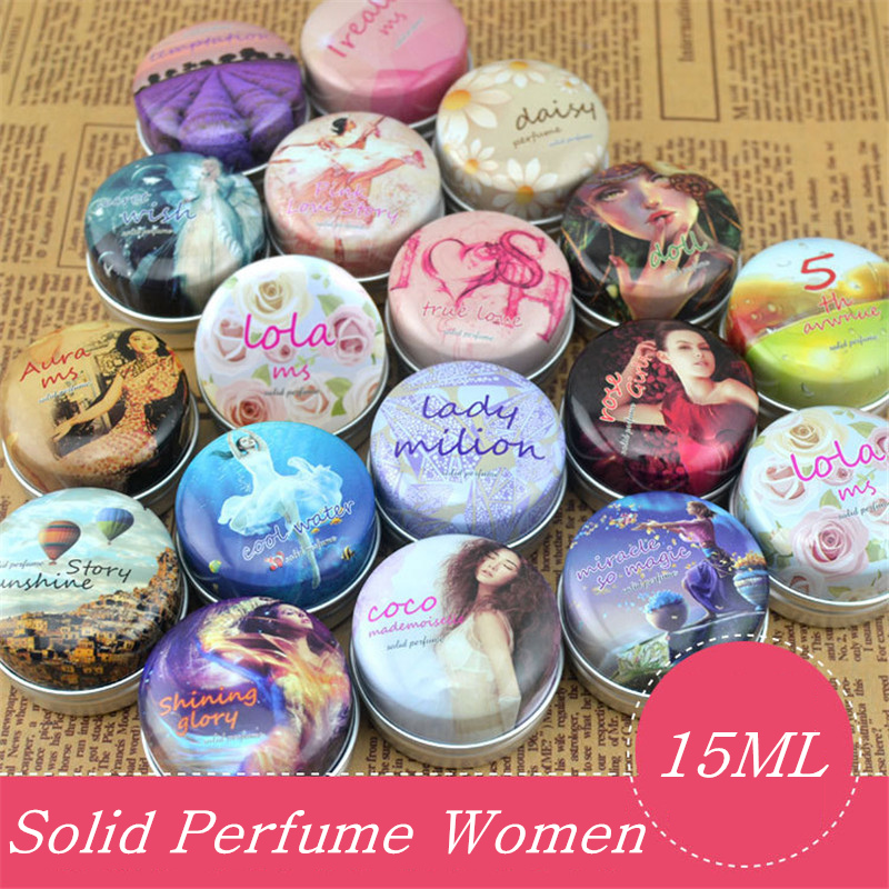 1pc Eau De Parfum 15g Women Soild Perfume Feminino Portable Box Flower Fruit Fragrance Floral Cream Female Parfum Metal Casing
