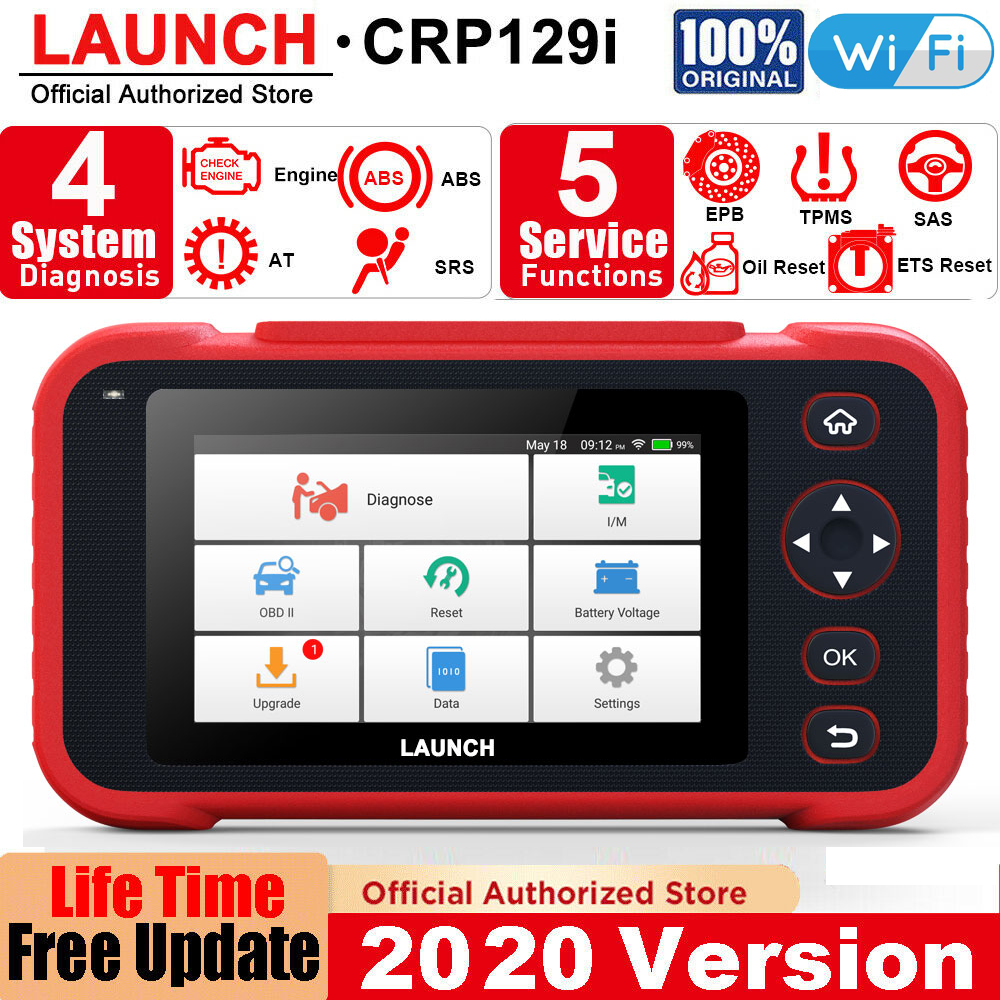 LAUNCH X431 CRP129i OBD2 Auto Scanner Automotivo OBD2 Engine Code Reader SAS Airbag SRS Oil Reset Creader LAUNCH OBD Free Update