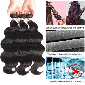 Image 3 - Armure brésilienne de cheveux de saphir paquets de vague de corps avec les cheveux humains frontaux 3 paquets avec lextension frontale de cheveux de fermeture