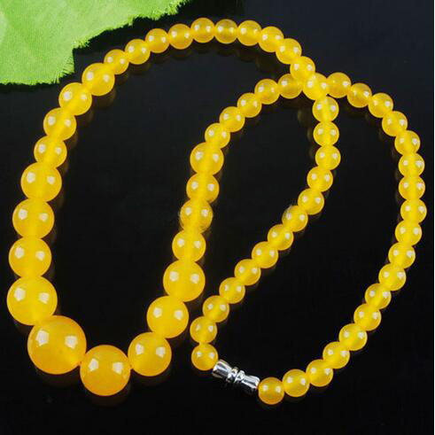 N49 6-14mm Yellow jade Round Beads Necklace 17.5