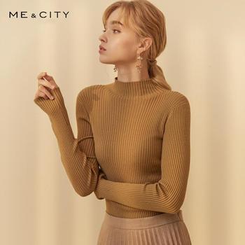 ME & CITY, кашемировый шикарный вязаный свитер, женские пуловеры, Осень-зима, базовые женские свитера, официальная Женская мода, приталенный кро...
