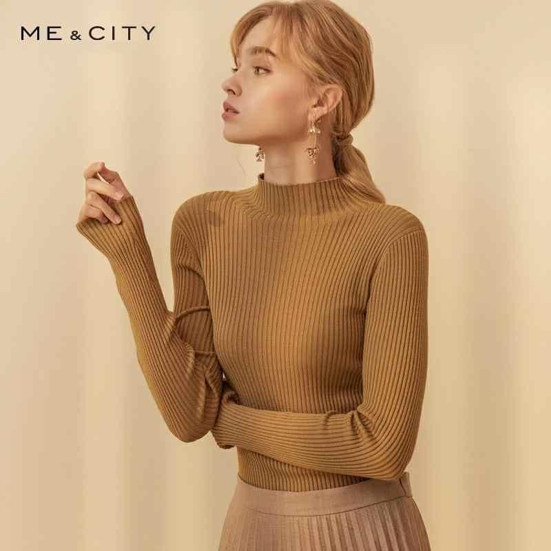 Me & cidade cashmere chique camisola de malha pullovers feminino outono inverno básico feminino suéteres oficial senhora moda magro ajuste