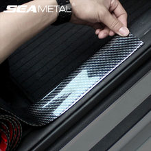 Pegatinas para parachoques de puerta de coche, tiras protectoras de película de fibra de carbono, decoración de Pedal de maletero, calcomanía, accesorios para automóviles para Toyota Kia
