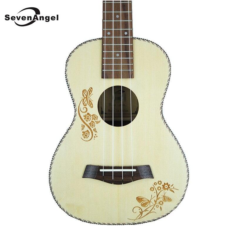 SevenAngel Concert acoustique ukulélé 23 pouces épicéa hawaïen guitare électrique Ukelele papillon amour fleur motif avec pick-up EQ