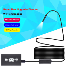 KPIOCCOK 1M/2M/3.5M/5M/10MM WIFI Endoscope Camera IP68 Waterproof HD 1200P 8LED Hard Wire For Android PC Gift Accessories