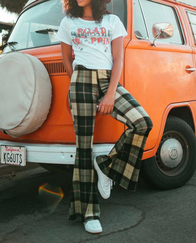 2020 Women Ladies Retro patchwork Plaid Pattern Bell-bottom Long Pants female Fashion Casual long Pants