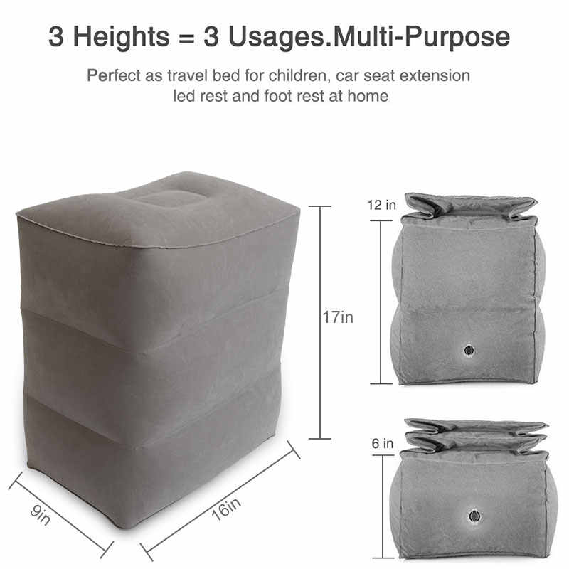 Portable Travel Footrest Pillow PVC Inflatable Flight Sleeping Leg Resting Pillow Office Home Train Kids Bed Foot Rest Pad pouf