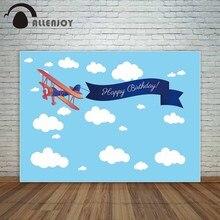 Allenjoy Newborn Party Wall Decor Blue Sky Plane Ribbon Happy Birthday Phrase Background Celebration Events Backdrops Photocall