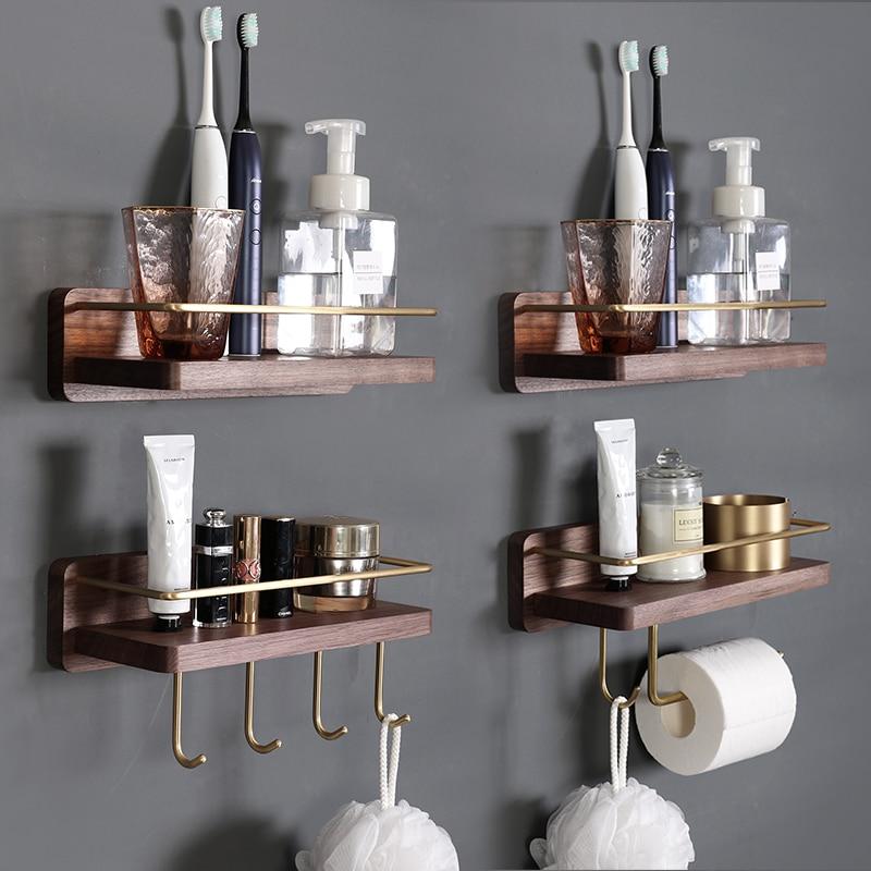 Твердая дерево ванная комната стена подвесная вешалка полотенце вешалка косметика хранение ткань вешалка полотенце штанга зубная щетка чашка держатель кухня место для хранения