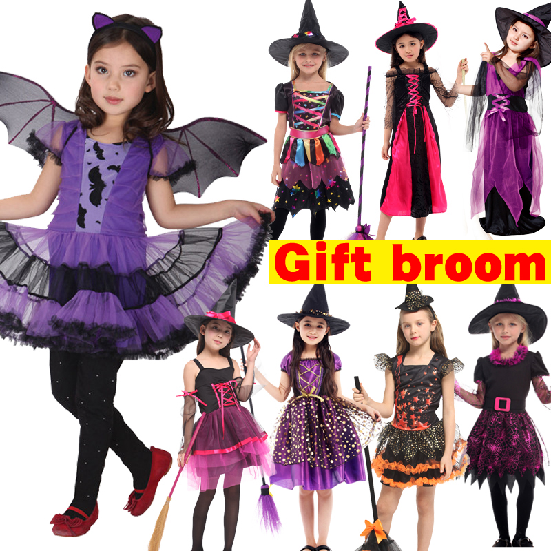 Halloween Witch Costume With Broom For Girls Role Play Cosplay Performance Dance Show Costumes For Kids Vampire Witch Dress Up