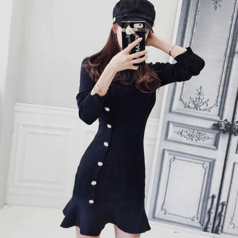 Autumn Winter Knitted Sweater Dress Women Black Long Sleeve Single-Breasted Sheath Elastic Fishtail Mini Dress DV57