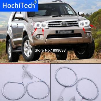 4pcs Super bright 7 color RGB LED Angel Eyes Kit with a remote control car styling For Toyota FORTUNER 2008 2009 2010